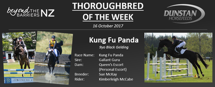 "Panda was bred and raced by Sally McKay, he had 11 race day starts during between 2012 and 2014 without much success and was retired off the track with just over $1,000 in winnings to his name. Trainee accountant Kimberleigh, got Panda straight off the track and has transitioned the black gelding into a sport horse. Together they have done three ODE's up to 95cm and have finished on their dressage score each time. Panda is bold on the cross country and will jump from any spot or angle. The combination have also show jumped to 1.10m and Kimberleigh has her sights set 1.20m show jumping and 1* eventing in the future. ""Panda is very willing to please and always tries 110%"" Says Kimberleigh, he was also the chosen mount for a friend of Kimberleigh's when she competed in her first ever show jumping competition!"