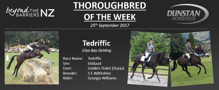 "Teddy had his first race as a 2yo over 1200m for trainer John Wheeler Racing Stables in 2005. He then went on to race in a further 48 flat races which included a third place in the Group 2 New Zealand Cup in 2007 – a run that earnt him a trip across the Tasman at the end of the 2007-2008 season where he picked up a win and a couple of placings before returning to NZ. Towards the end of his career his was tried over jumps by John before being moved to the stable of Daniel Champion and Kezia Murohy in Ashburton. In total, he won over $130,000 for his connections and was retired off the track in 2011.Georgia is now the rider of Teddy and together the combination have been eventing at 95cm and show jumping up to 1m as well as competing in round the ring and attending Pony Club. Teddy and Georgia competed at the 2016 Springston Trophy (Pony Club) and Georgia is aiming for the 2017 event as well. She describes Teddy as being amazingly bold on cross country and says he has given her a huge amount of confidence. Teddy is special to Georgia as he is her first hack and as she says, ""he has the cutest personality with a bit of cheekiness in there too!""Together the pair are aiming to compete at 1.05cm this season and we look forward to seeing their progress."